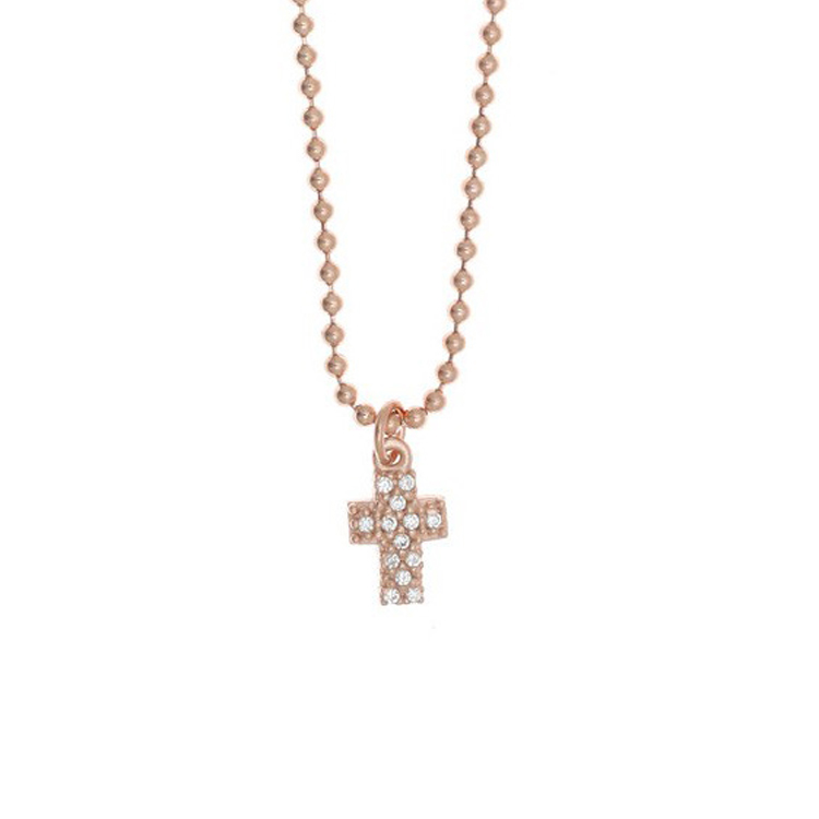 cf6a920b19 Gregio Ασημένιο Κολιέ Σταυρός με Ροζ Επιχρύσωμα 24812