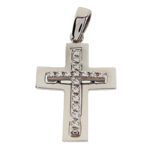 Σταυρός Βάπτισης 14Κ Λευκόχρυσος Γυναικείος ST726
