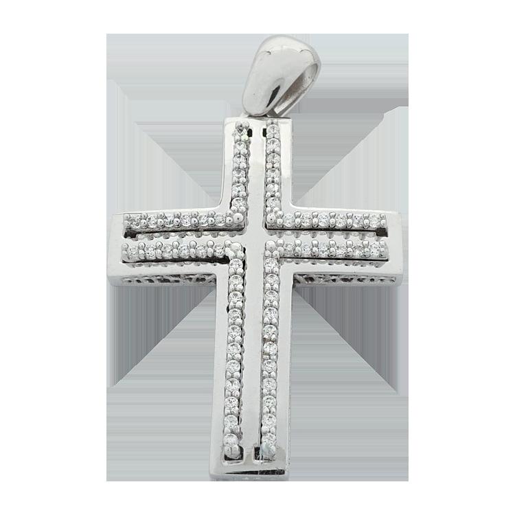 Σταυρός Βάπτισης 14Κ Λευκόχρυσος Γυναικείος ST1467