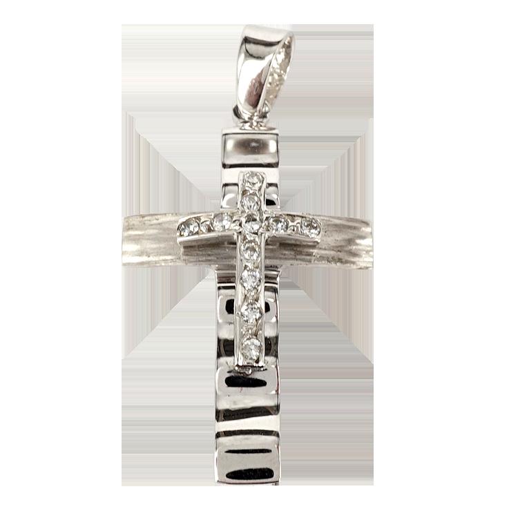 Σταυρός Βάπτισης 14Κ Λευκόχρυσος Γυναικείος ST1361