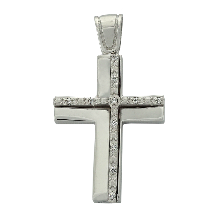 Σταυρός Βάπτισης 14Κ Λευκόχρυσος Γυναικείος ST1523