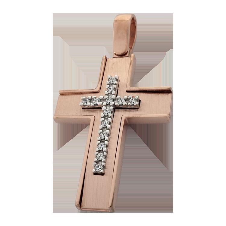Σταυρός Βάπτισης 14Κ Ροζ Χρυσός Γυναικείος ST1548