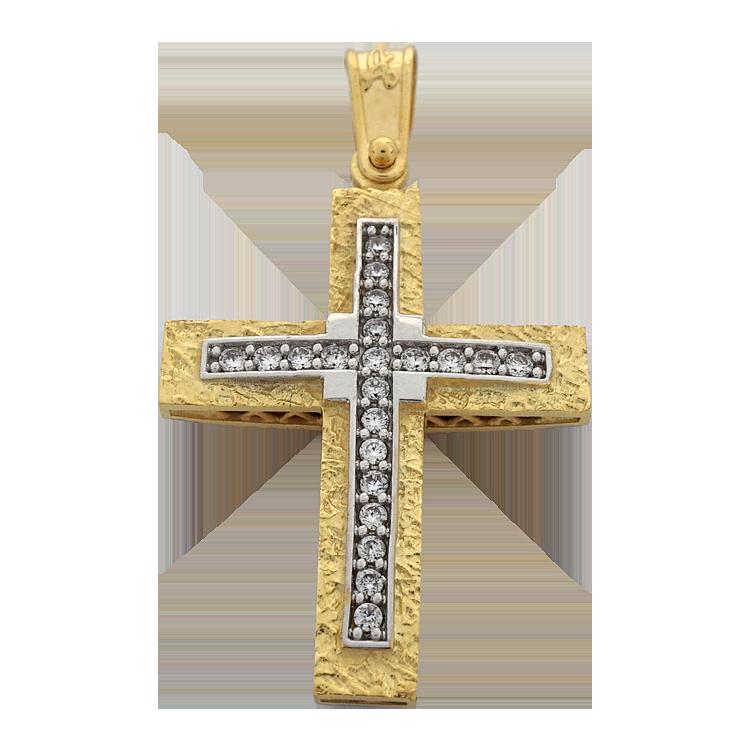 Σταυρός Βάπτισης 14Κ Δίχρωμος Χρυσός Γυναικείος ST1601