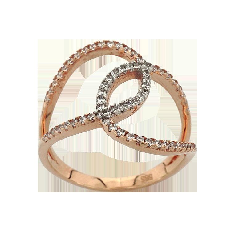 Ροζ Χρυσό Δαχτυλίδι Κ14 DX191