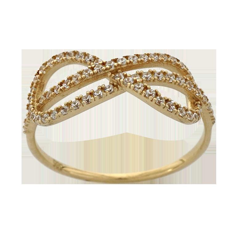 Κίτρινο Χρυσό Δαχτυλίδι με το Άπειρο Κ14 DX195