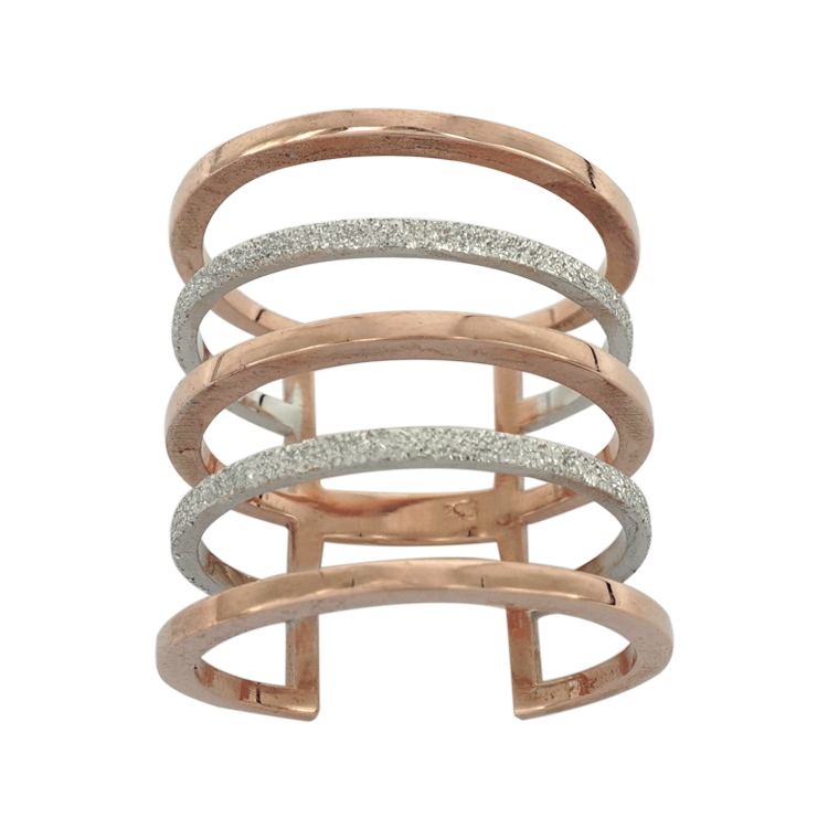 Δίχρωμο Χρυσό Δαχτυλίδι Five Lines K9 DX200