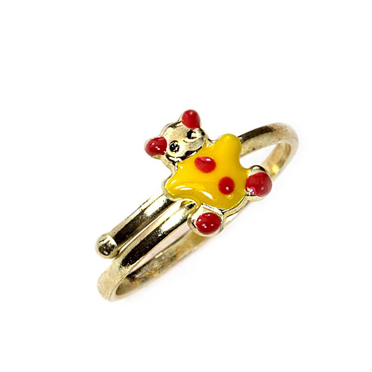 Παιδικό Δαχτυλίδι Αρκουδάκι Από Κίτρινο Χρυσό Κ14 PDX104