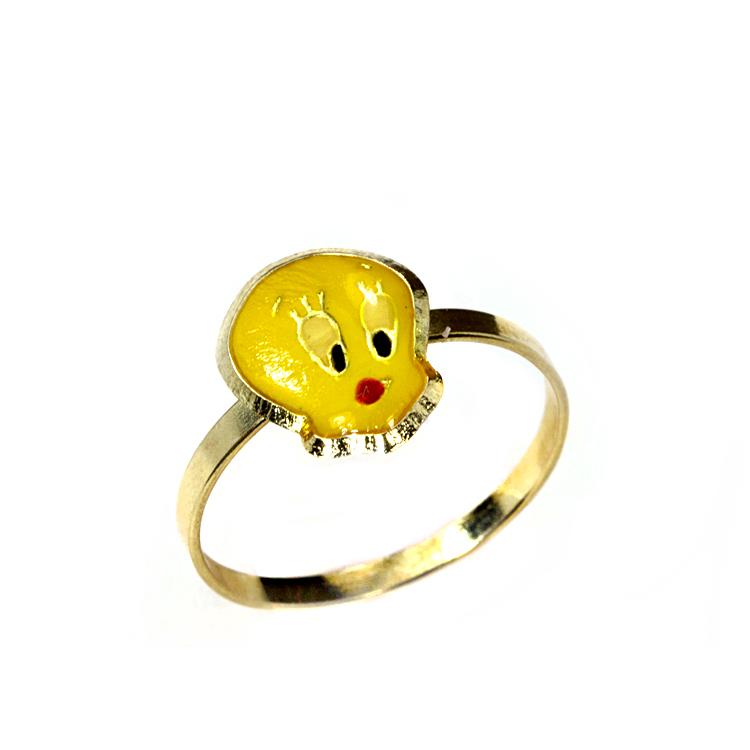 Παιδικό Δαχτυλίδι Tweety Aπό Κίτρινο Χρυσό Κ14 PDX114