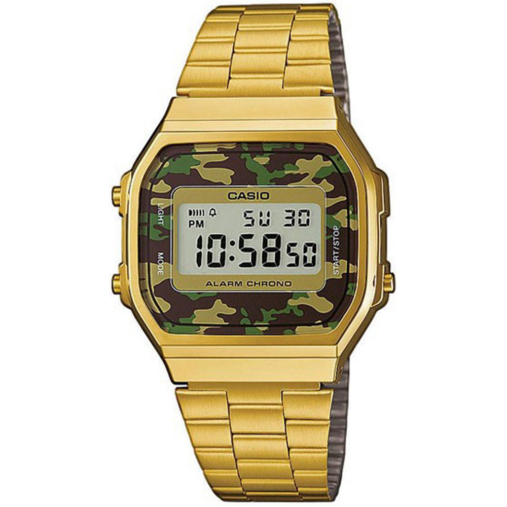 CASIO Collection Camouflage Gold Stainless Steel Bracelet A-168WEGC-3EF