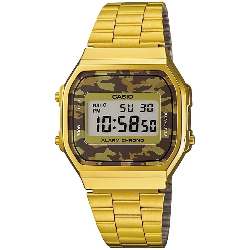 CASIO Collection Camouflage Gold Stainless Steel Bracelet A-168WEGC-5EF
