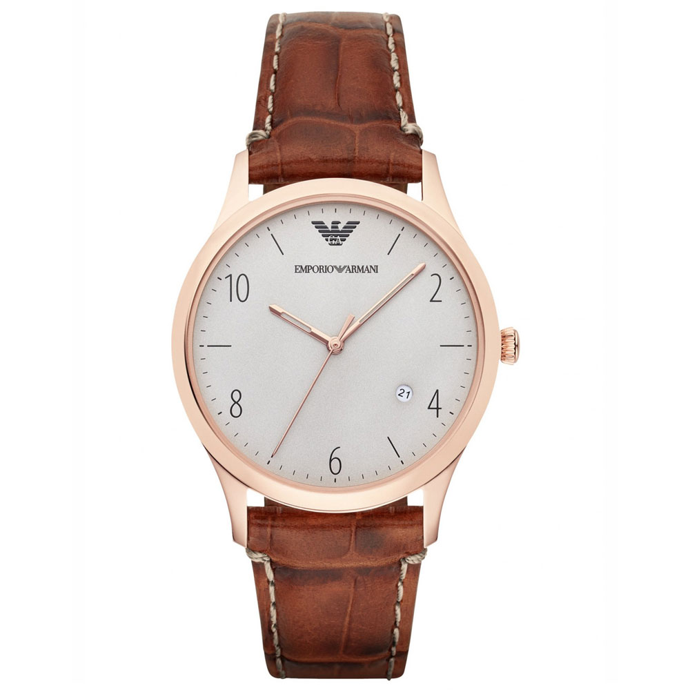 Emporio Armani Grey Dial Cognac Lather Men's Watch AR1866