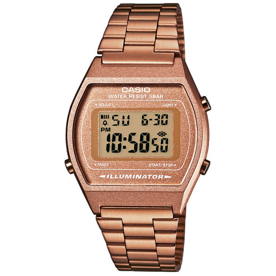 CASIO Collection Digital Rose Gold Stainless Steel Bracelet B-640WC-5AEF