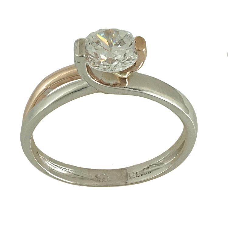 Δίχρωμο Χρυσό Μονόπετρο Δαχτυλίδι Κ14 DX479