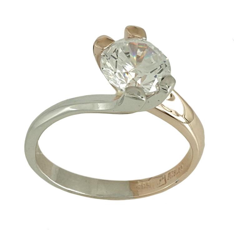 Δίχρωμο Χρυσό Μονόπετρο Δαχτυλίδι Κ14 DX480
