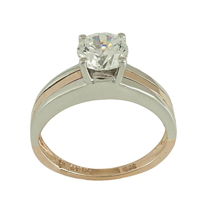 Δίχρωμο Χρυσό Μονόπετρο Δαχτυλίδι Κ14 DX483