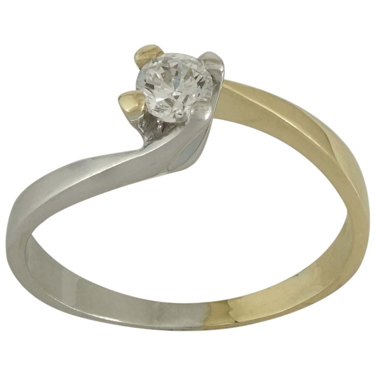 Δίχρωμο Χρυσό Μονόπετρο Δαχτυλίδι Κ14 DX512