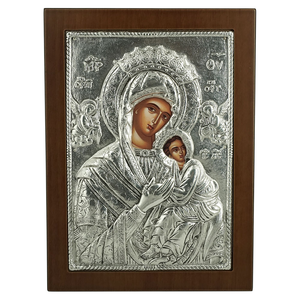 Silver Orthodox Icon on Wood 103G