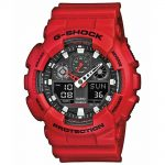 CASIO G-SHOCK Chronograph Red Rubber Strap GA-100B-4AER