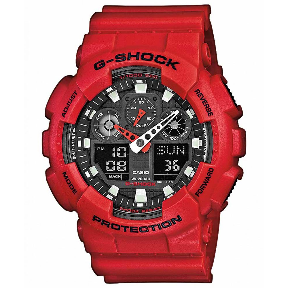 CASIO G-SHOCK Chronograph Red Rubber Strap GA-100B-4AER