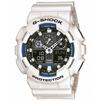 CASIO G-SHOCK Chronograph White Rubber Strap GA-100B-7AER