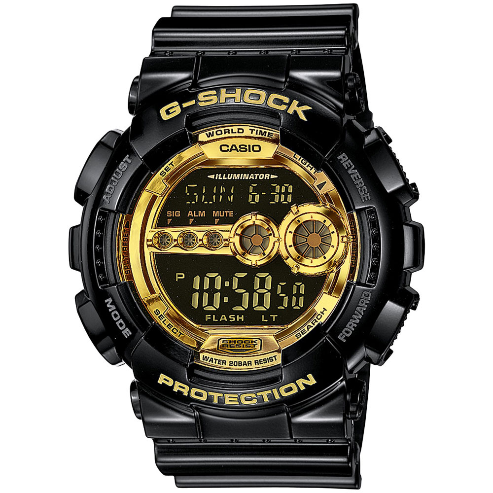 CASIO G-SHOCK Digital Chronograph Black Rubber Strap GD-100GB-1ER