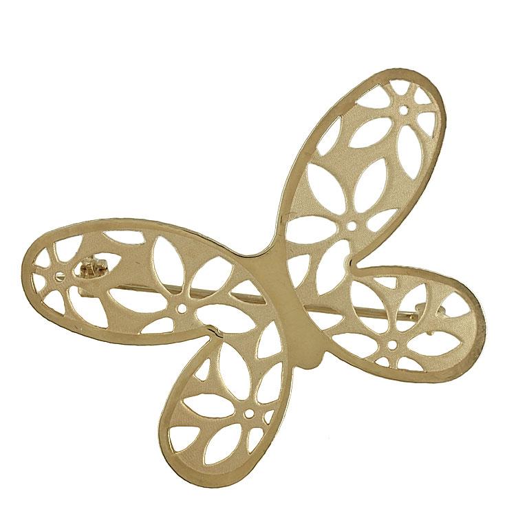 Κίτρινη Χρυσή Καρφίτσα Πεταλούδα Κ14 KRF102