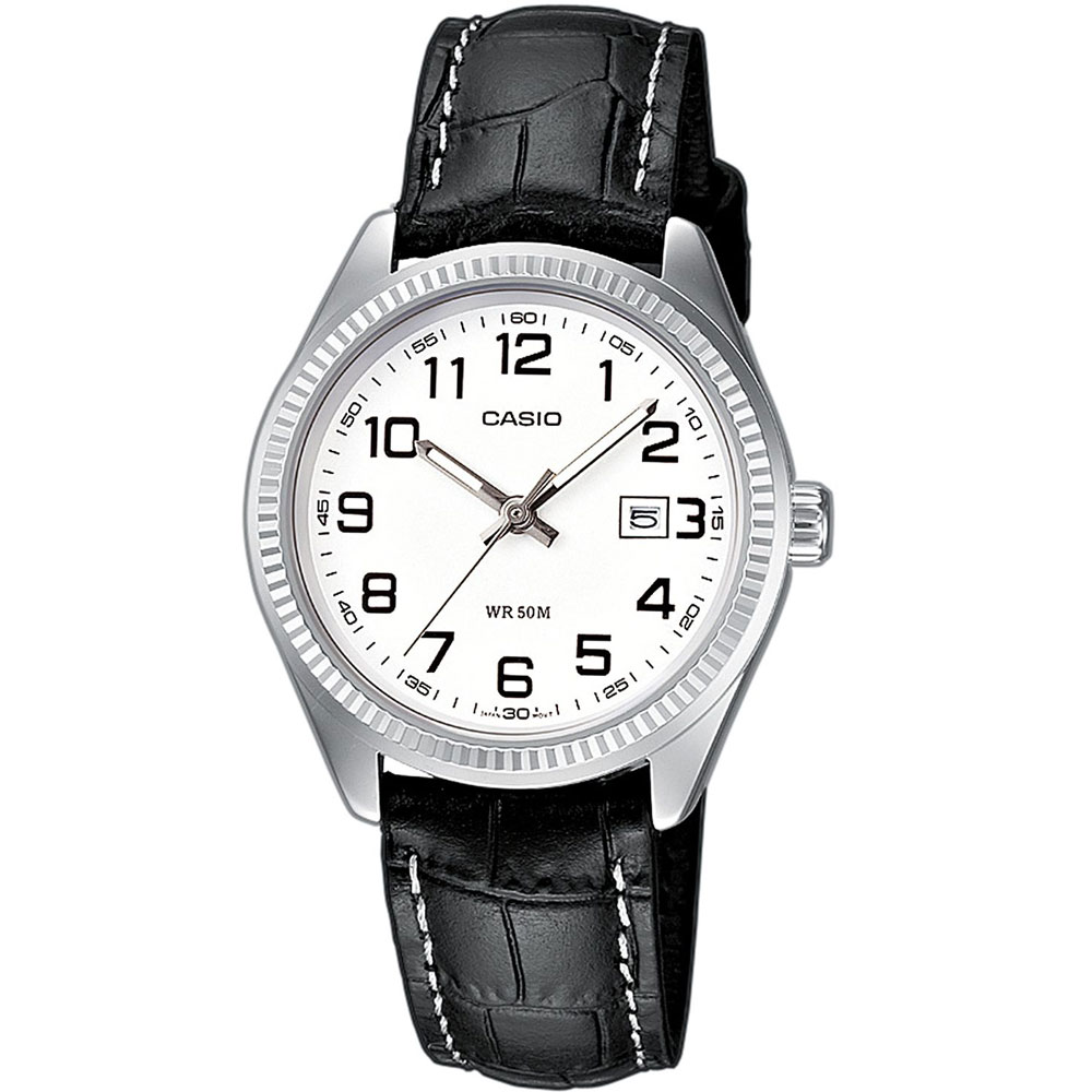 CASIO Collection Black Leather Strap White Dial LTP-1302PL-7BVEF