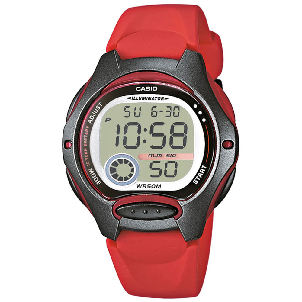 CASIO Collection Digital Red Rubber Strap LW-200-4AVEF