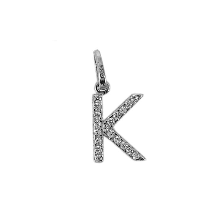 """Λευκόχρυσο Μενταγιόν Μονόγραμμα """"Κ"""" Κ14 MG59736"""
