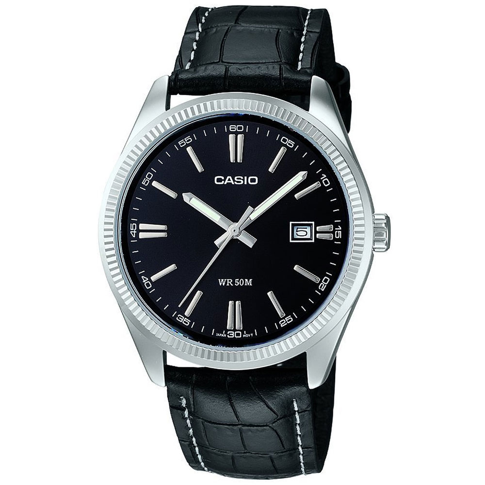 CASIO Collection Black Leather Strap MTP-1302PL-1AVEF