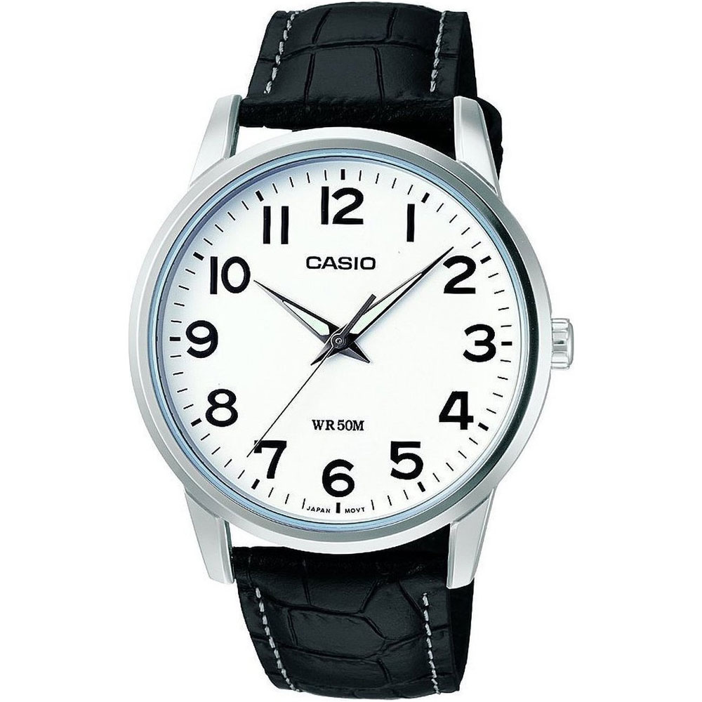CASIO Men's Collection Neobrite White Dial-Black Leather MTP-1303PL-7BVEF