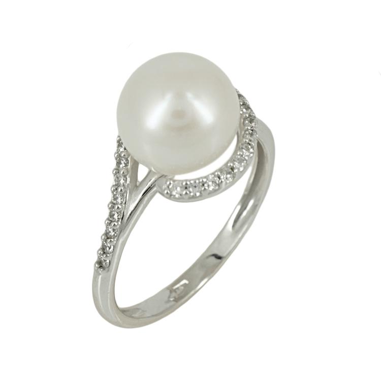 Λευκόχρυσο Μονόπετρο Δαχτυλίδι με Μαργαριτάρι Κ14 DX73810