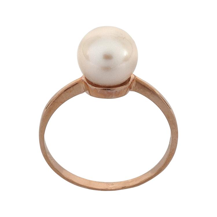 Ροζ Χρυσό Μονόπετρο Δαχτυλίδι με Μαργαριτάρι Κ14 DX211