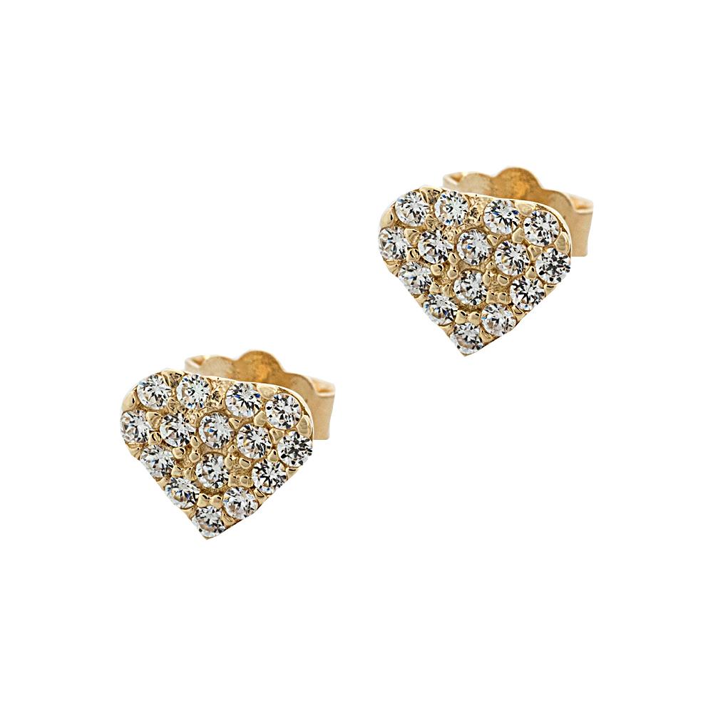 Κίτρινα Χρυσά Σκουλαρίκια Καρδιές με Λευκά Zircons Κ14 SK141