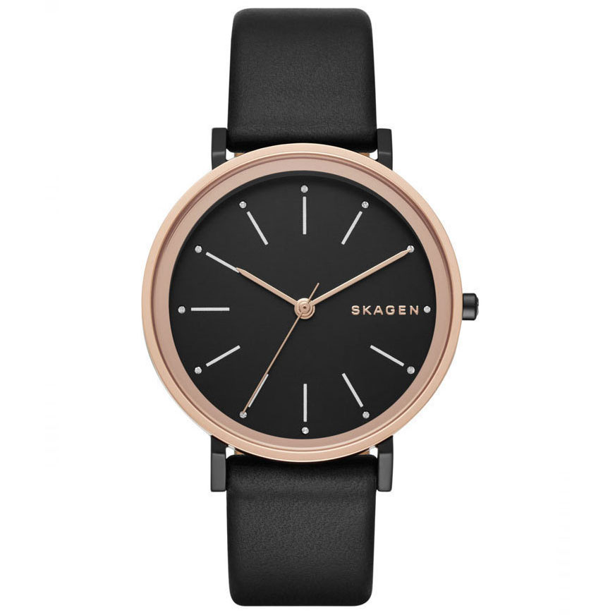 SKAGEN Hald Black Dial Ladies Leather Watch SKW2490