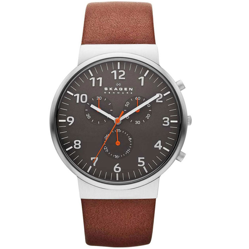SKAGEN Mens Ancher Chrono Brown Leather Strap SKW6099