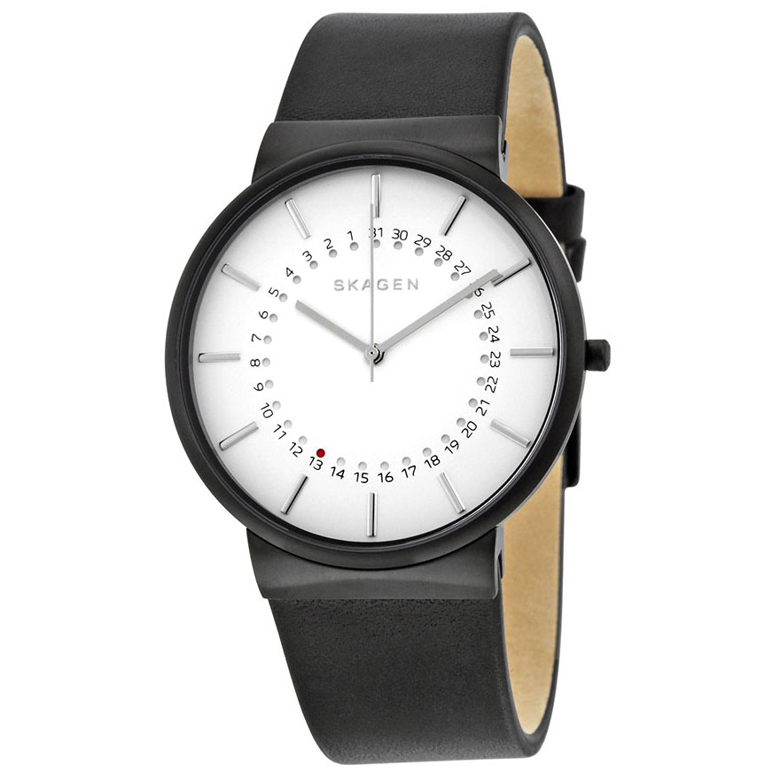 SKAGEN Mens Ancher Black Leather Strap SKW6243