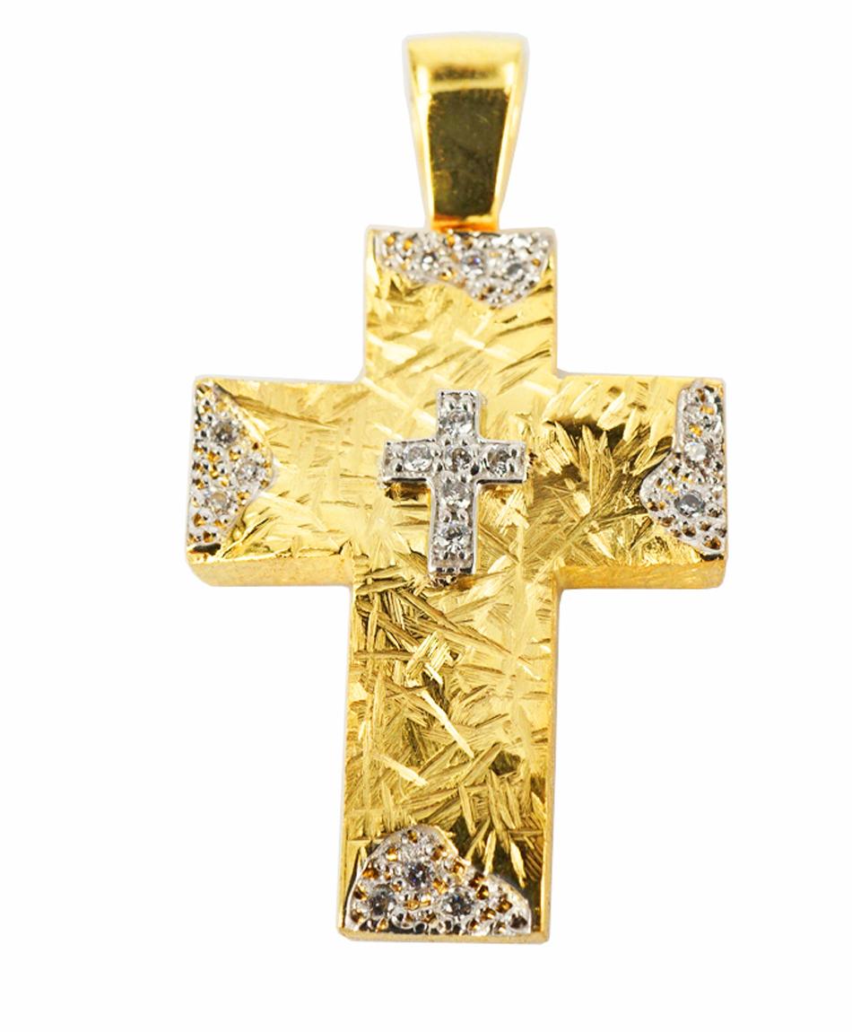 Σταυρός Βάπτισης 14Κ Κίτρινος Χρυσός Γυναικείος ST1004