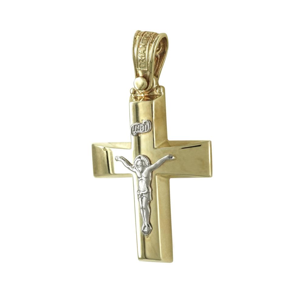 Σταυρός Βάπτισης 14Κ Δίχρωμος Χρυσός ΤΡΙΑΝΤΟΣ Ανδρικός ST1096