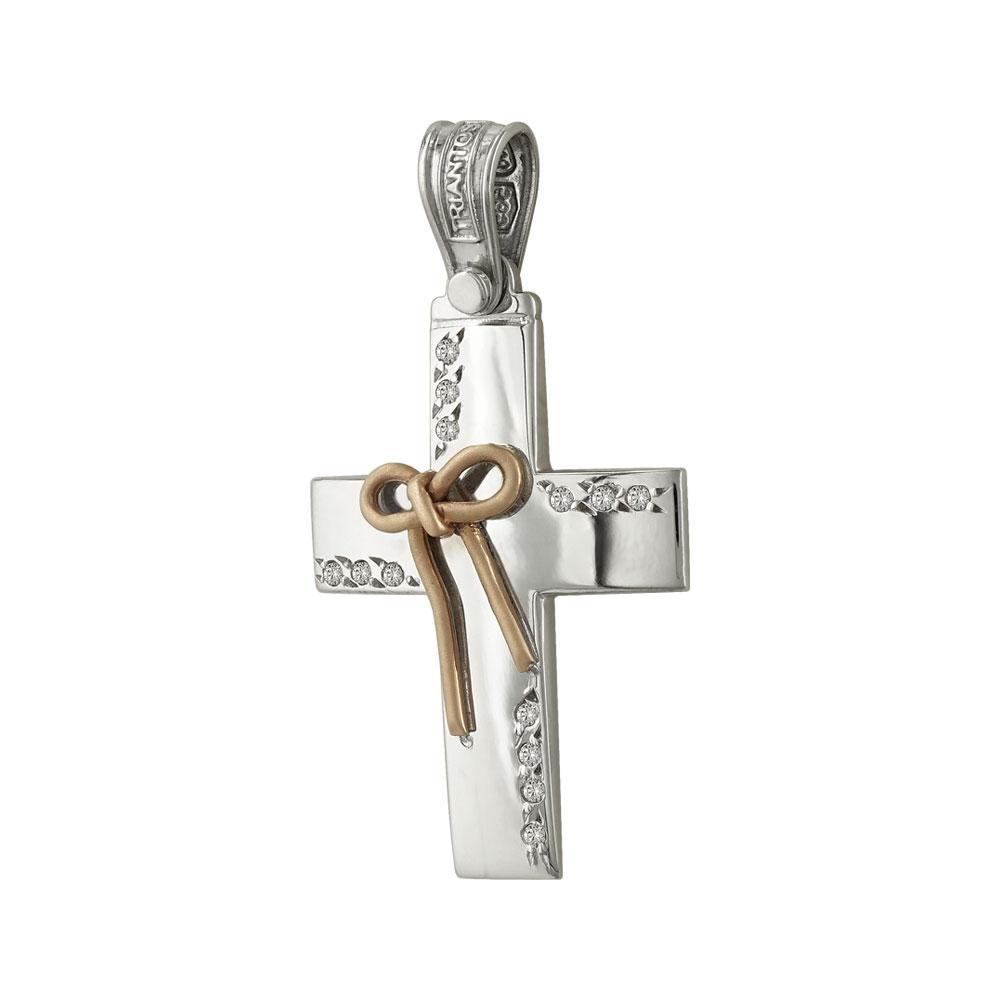 Σταυρός Βάπτισης 14Κ Δίχρωμος Χρυσός Γυναικείος ΤΡΙΑΝΤΟΣ ST1109