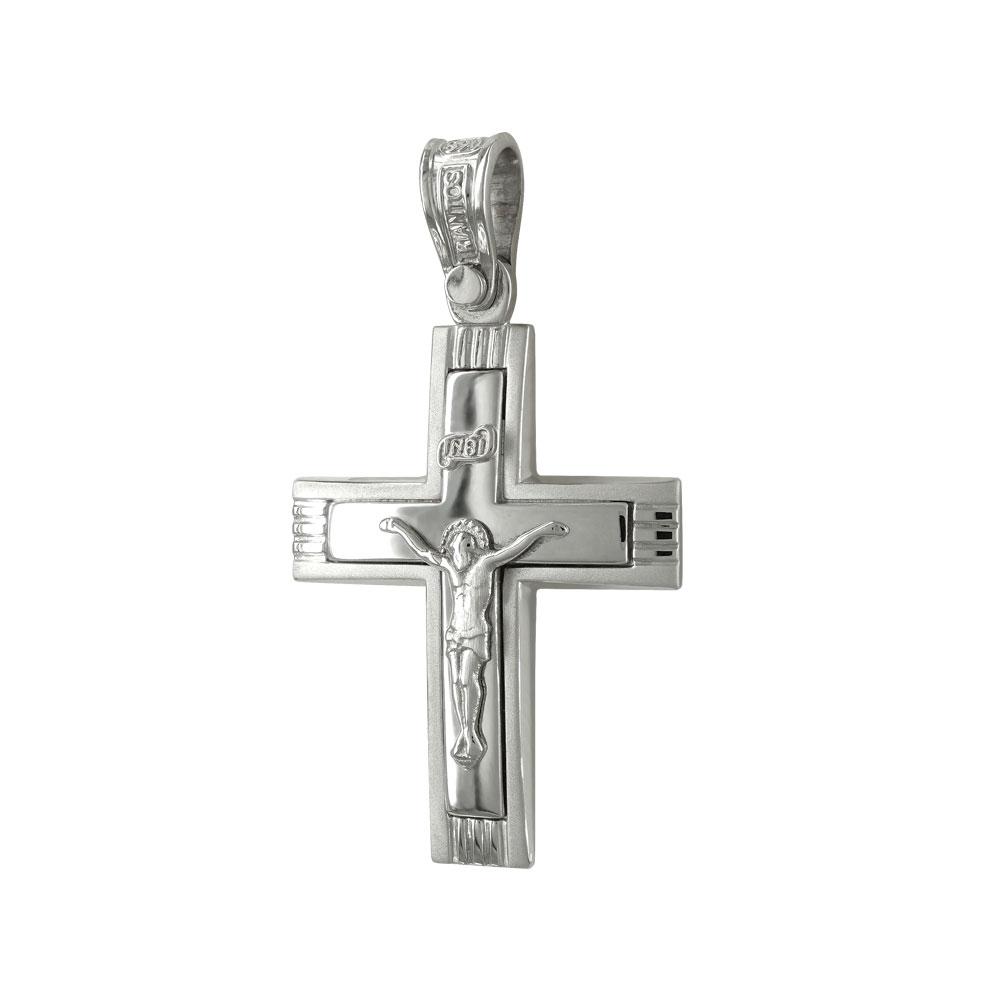Σταυρός Βάπτισης 14Κ Λευκόχρυσος ΤΡΙΑΝΤΟΣ Ανδρικός ST1349
