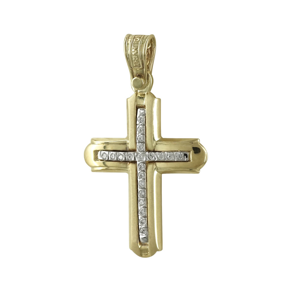 Σταυρός Βάπτισης 14Κ Κίτρινος Χρυσός Γυναικείος ΤΡΙΑΝΤΟΣ ST1439