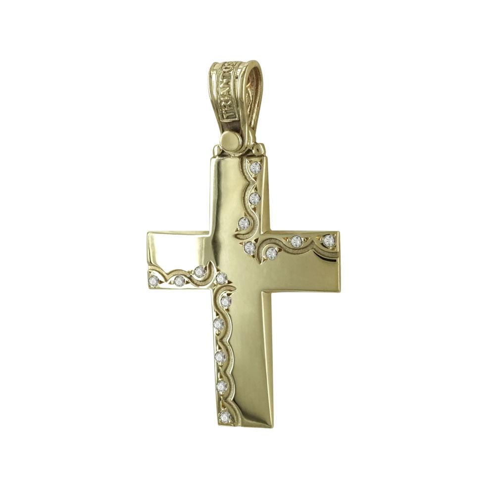 Σταυρός Βάπτισης 14Κ Κίτρινος Χρυσός Γυναικείος ΤΡΙΑΝΤΟΣ ST1445