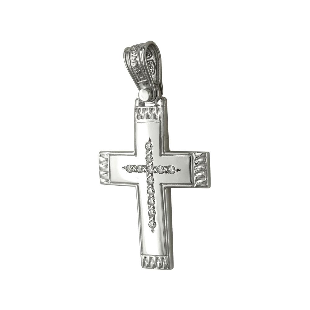 Σταυρός Βάπτισης 14Κ Λευκόχρυσος ΤΡΙΑΝΤΟΣ Γυναικείος ST1447