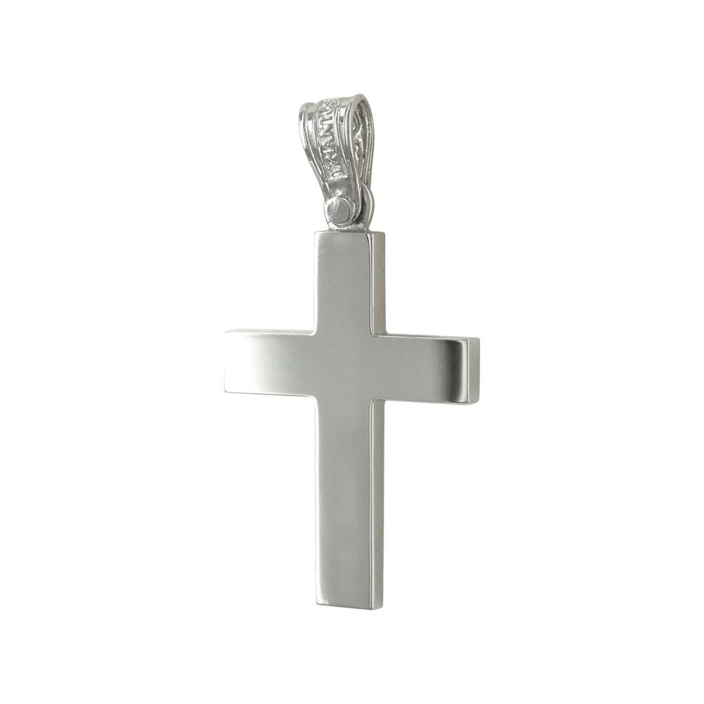 Σταυρός Βάπτισης 14Κ Λευκόχρυσος Ανδρικός ΤΡΙΑΝΤΟΣ ST1614