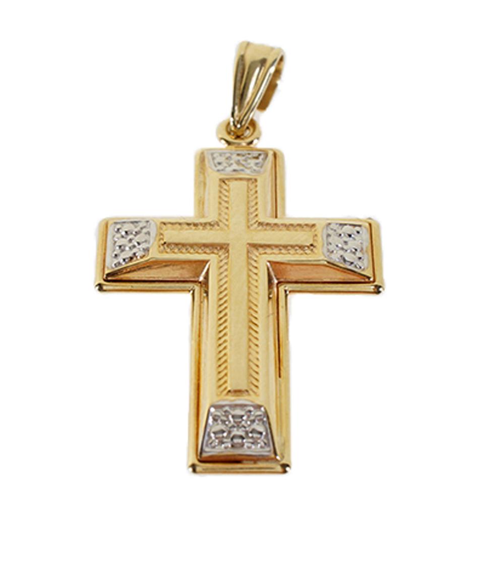 Σταυρός Βάπτισης 14Κ Δίχρωμος Χρυσός Ανδρικός ST540