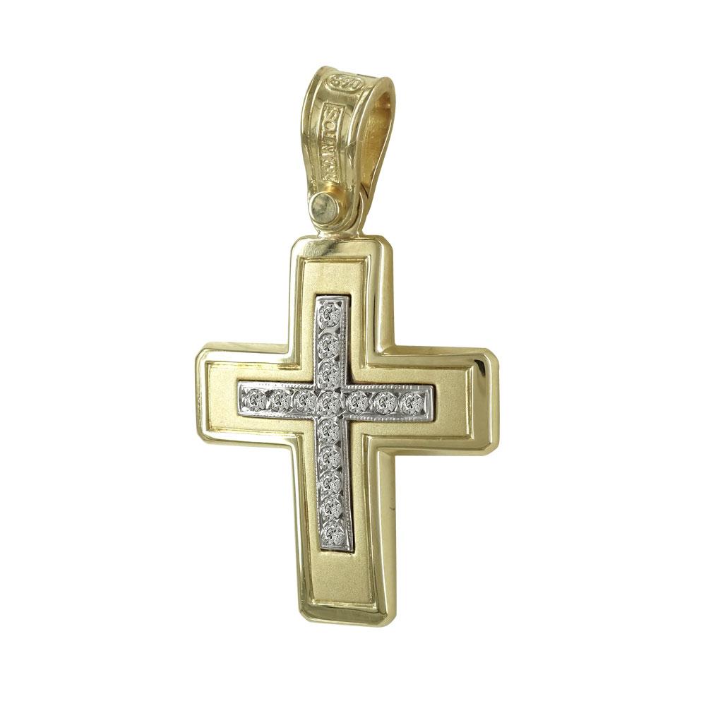 Σταυρός Βάπτισης 14Κ Δίχρωμος Χρυσός Γυναικείος ST589