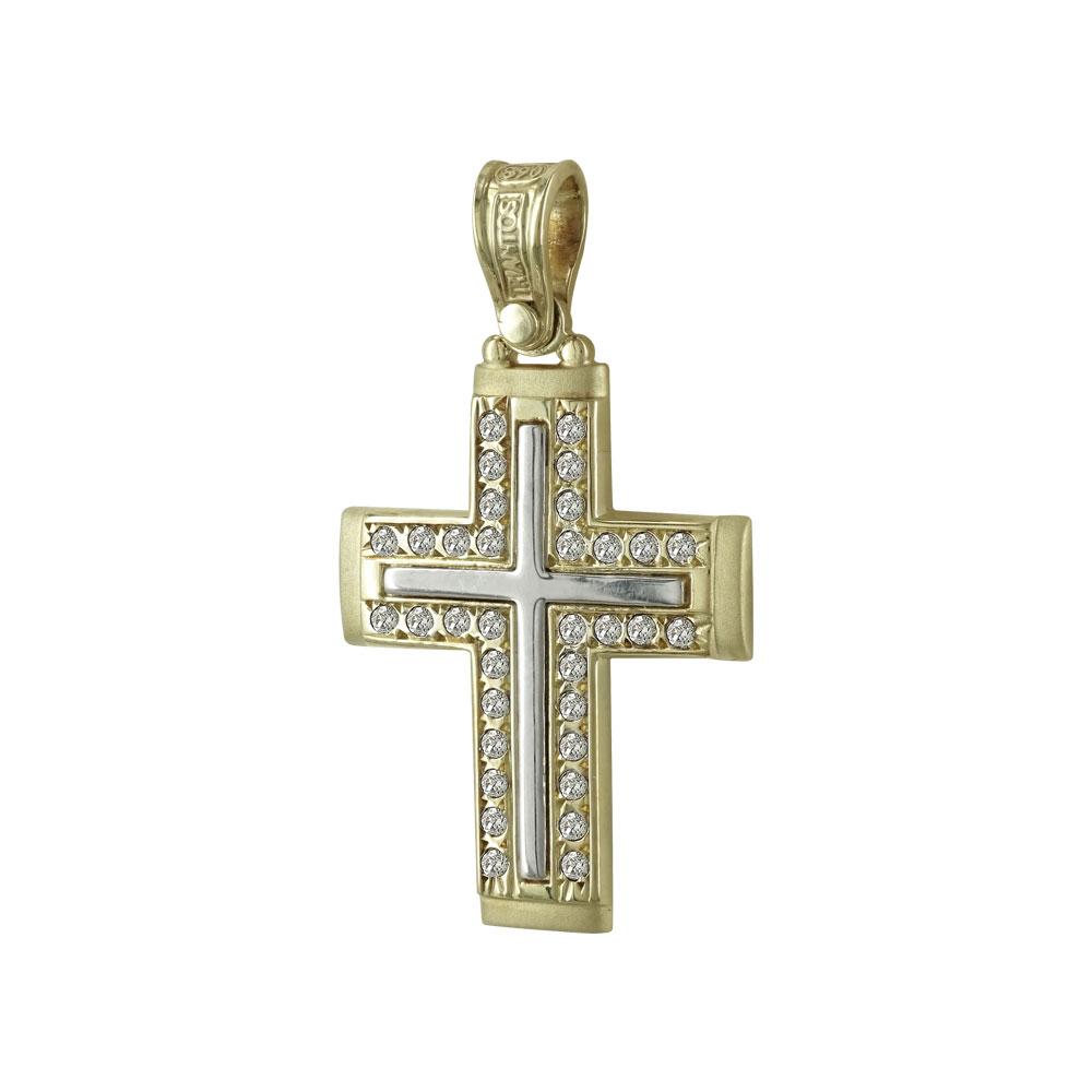 Σταυρός Βάπτισης 14Κ Δίχρωμος Χρυσός Γυναικείος ΤΡΙΑΝΤΟΣ ST596