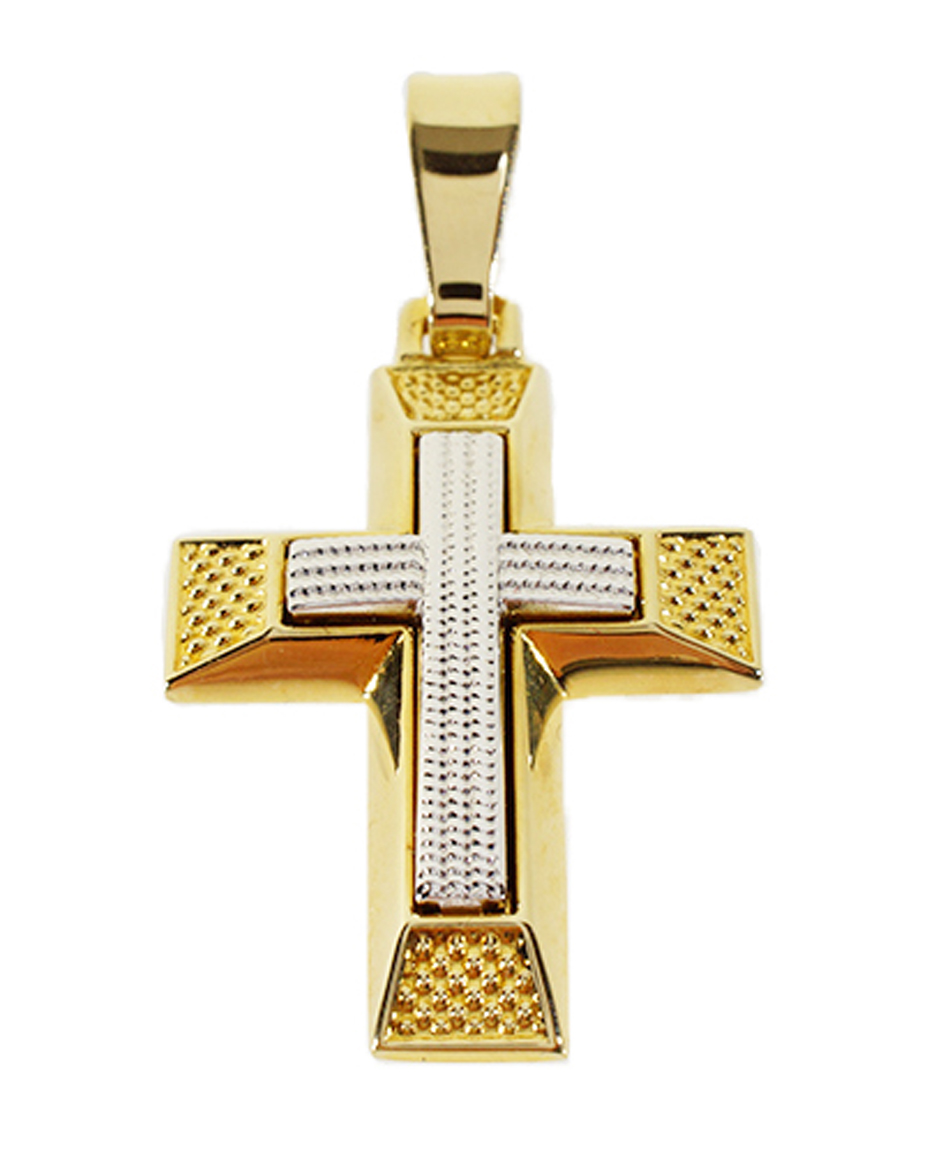 Σταυρός Βάπτισης 14Κ Δίχρωμος Χρυσός Ανδρικός ST616