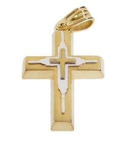 Σταυρός Βάπτισης 14Κ Δίχρωμος Χρυσός Ανδρικός ST678